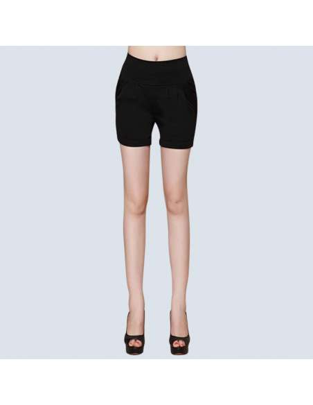 Women's Black High-Waisted Shorts with Pockets (Front View)