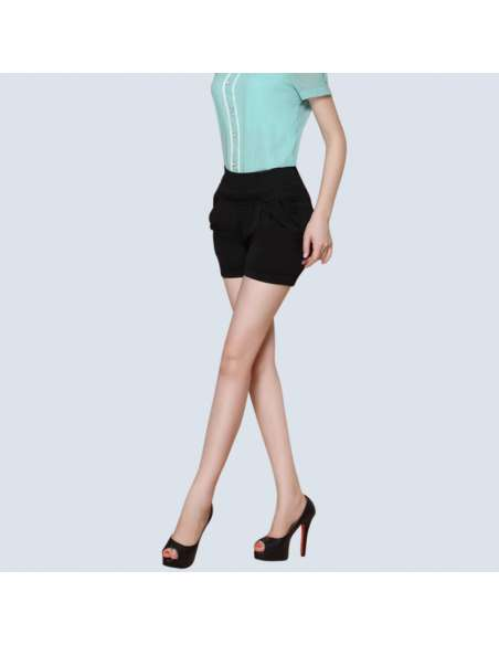 Women's Black High-Waisted Shorts with Pockets