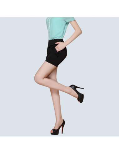 Women's Black High-Waisted Shorts with Pockets (Side View)