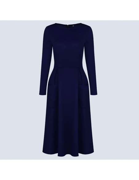 Navy Blue Long Sleeve Midi Dress with Pockets