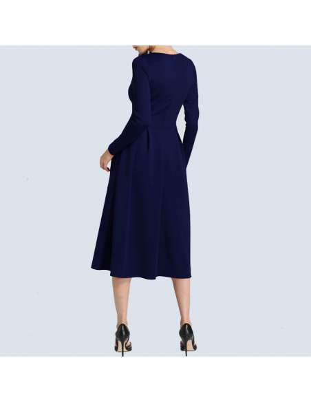 Navy Blue Long Sleeve Midi Dress with Pockets (Back View)