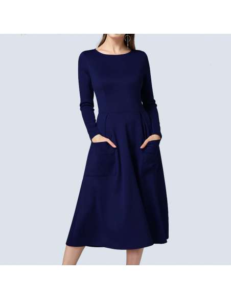 Navy Blue Long Sleeve Midi Dress with Pockets (Front View)