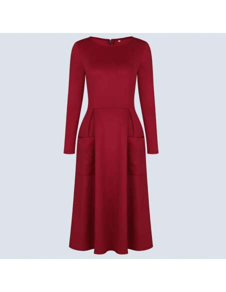 Crimson Red Long Sleeve Midi Dress with Pockets