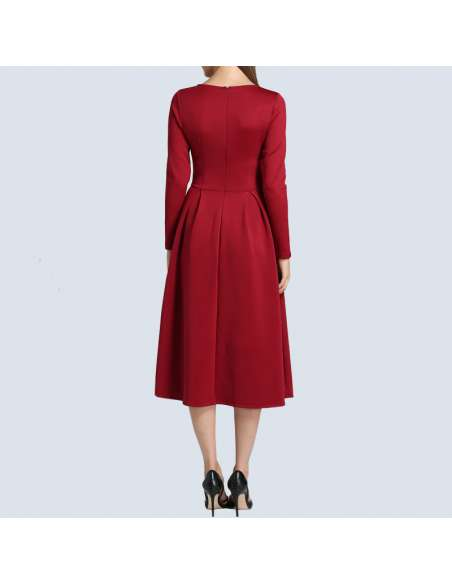 Crimson Red Long Sleeve Midi Dress with Pockets (Back View)