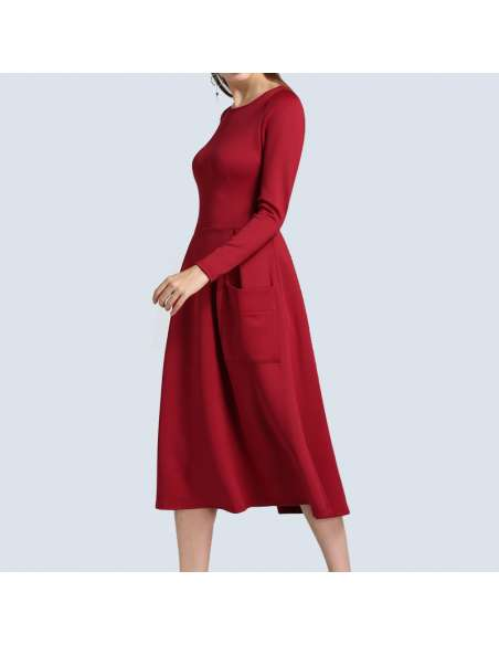 Crimson Red Long Sleeve Midi Dress with Pockets (Side View)