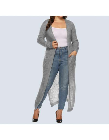 Women's Plus Size Gray Duster Cardigan with Pockets (Front View)
