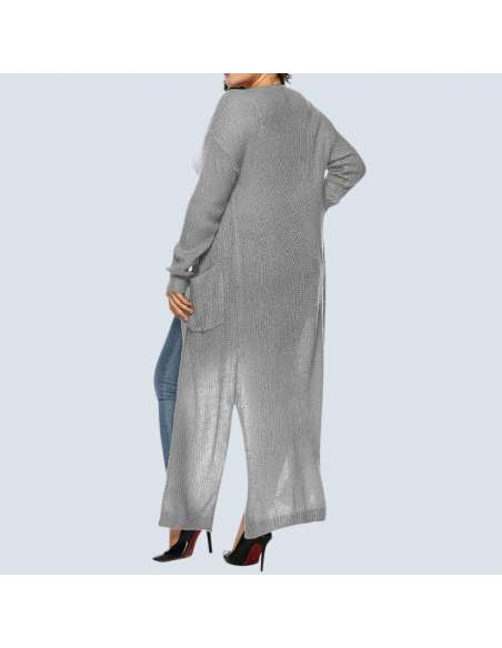 Women's Plus Size Gray Duster Cardigan with Pockets (Back View)