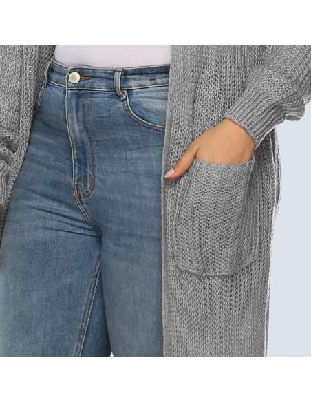 Women's Plus Size Gray Duster Cardigan with Pockets (Closeup)