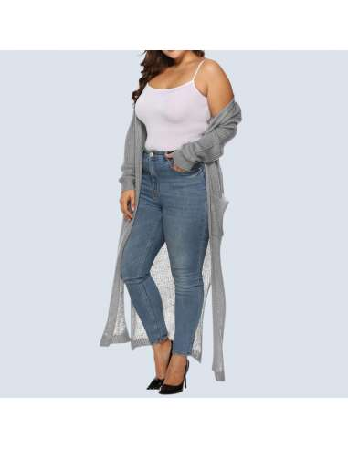 Women's Plus Size Gray Duster Cardigan with Pockets