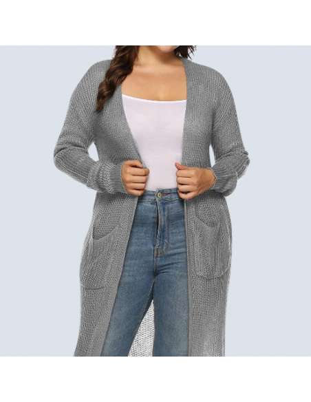 Women's Plus Size Gray Duster Cardigan with Pockets (Midshot)