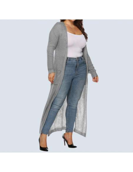 Women's Plus Size Gray Duster Cardigan with Pockets (Side View)