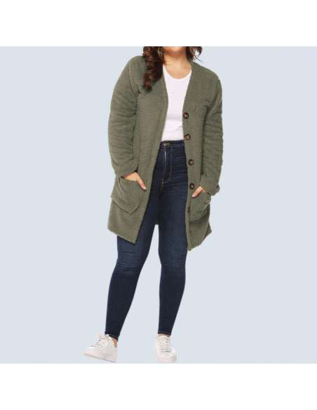 Women's Olive Green Plus Size Fleece Button-Up Cardigan with Pockets