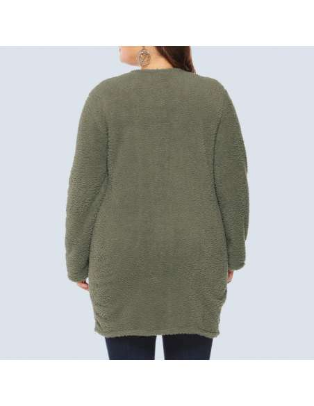 Women's Olive Green Plus Size Fleece Button-Up Cardigan with Pockets (Back View)