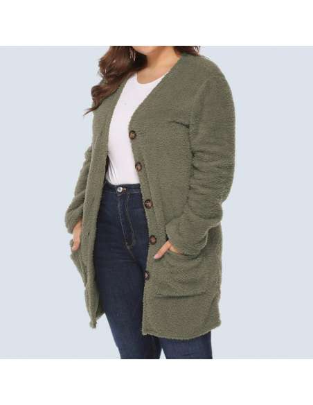 Women's Olive Green Plus Size Fleece Button-Up Cardigan with Pockets (Open Front)