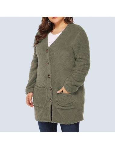 Women's Olive Green Plus Size Fleece Button-Up Cardigan with Pockets (Closed Front)