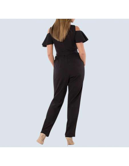 Women's Plus Size Black Cold Shoulder Jumpsuit with Pockets (Back View)