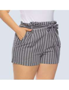 Plus Size Gray & White Striped Shorts with Pockets