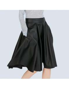 Black Faux Leather Skater Skirt with Pockets