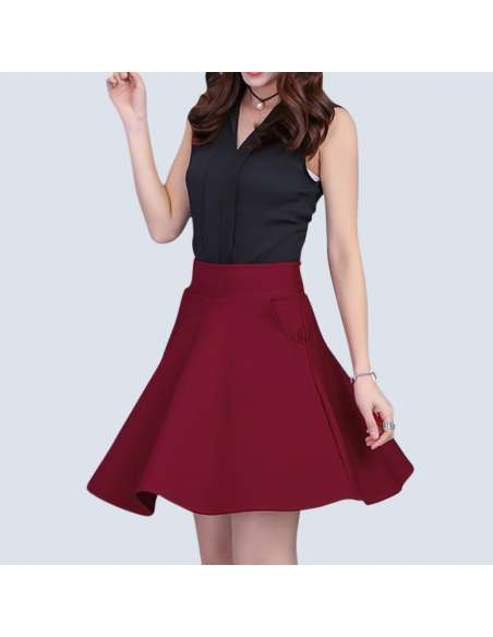 Crimson Red Mini Skater Skirt with Pockets (Front View)