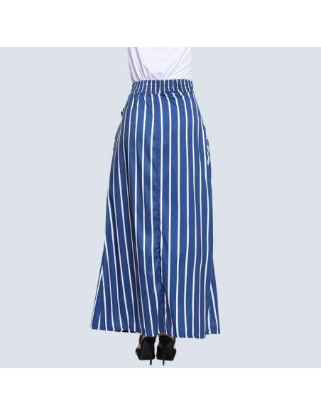Blue & White Striped Maxi Dress with Pockets (Back)