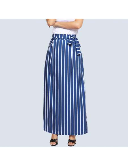 Blue & White Striped Maxi Dress with Pockets (Front)