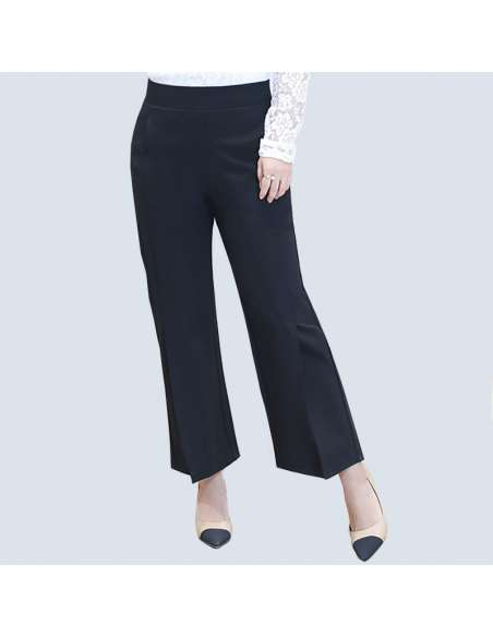 Women's Plus Size Black Wide Split Leg Pants with Pockets (Front View)