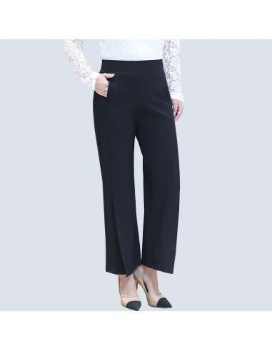 Women's Plus Size Black Wide Split Leg Pants with Pockets