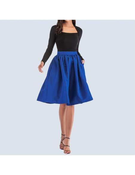 Royal Blue Flared Skirt with Pockets (Front View)