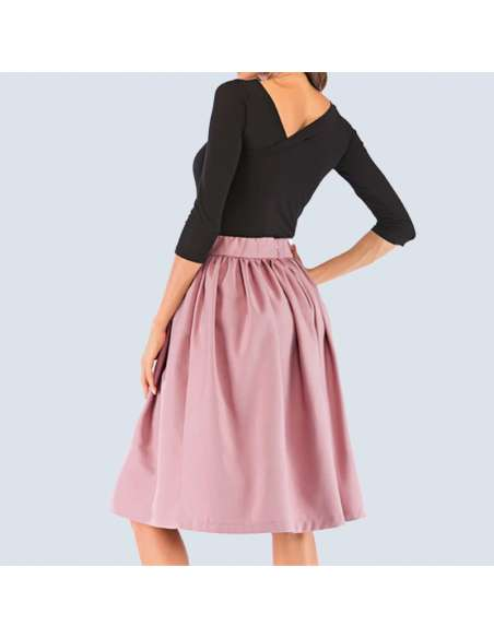 Blush Pink Flared Skirt with Pockets (Back View)
