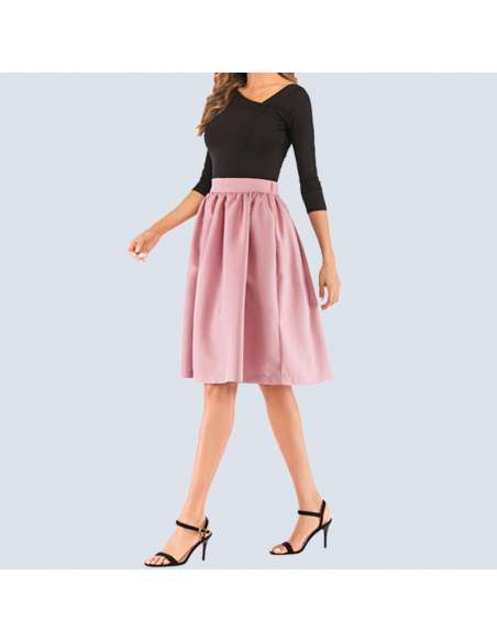 Blush Pink Flared Skirt with Pockets (Side View)