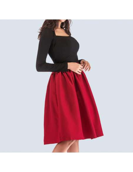 Cherry Red Flared Skirt with Pockets (Front Mid View)