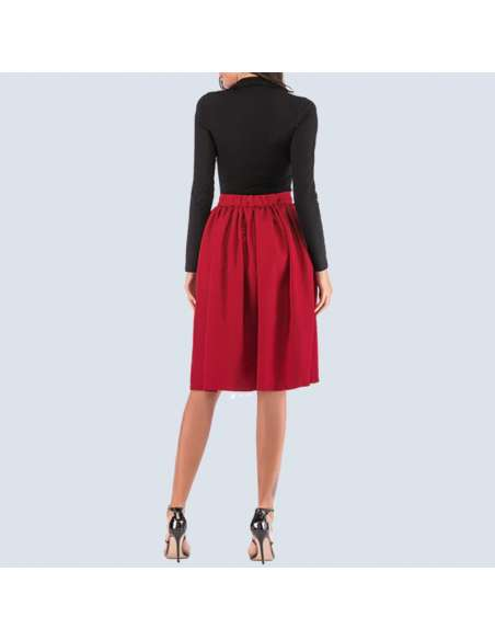 Cherry Red Flared Skirt with Pockets (Back View)