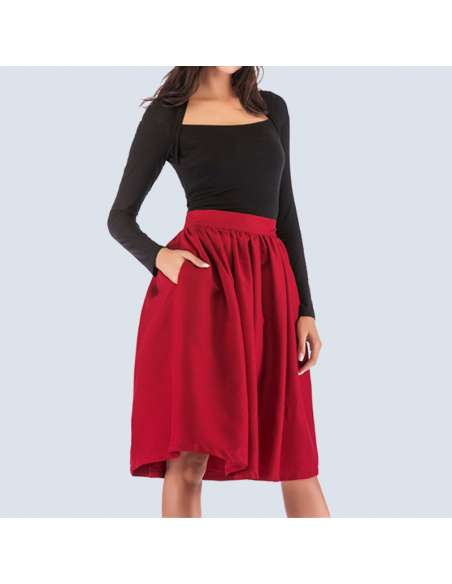 Cherry Red Flared Skirt with Pockets
