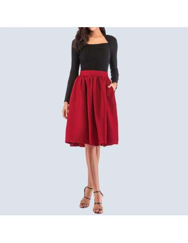 Cherry Red Flared Skirt with Pockets (Front View)