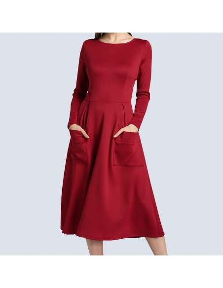 Crimson Red Long Sleeve Midi Dress with Pockets (Front View)