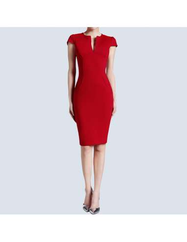 Red Pencil Dress with Pockets (Front View)