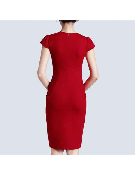 Red Pencil Dress with Pockets (Back View)