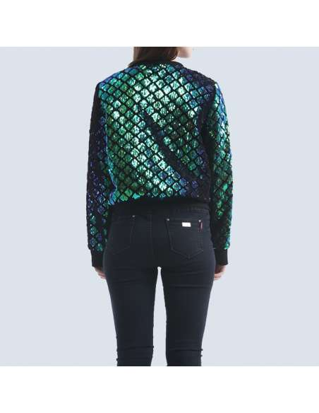 Women's Green Sequin Mermaid Bomber Jacket with Pockets (Back View)