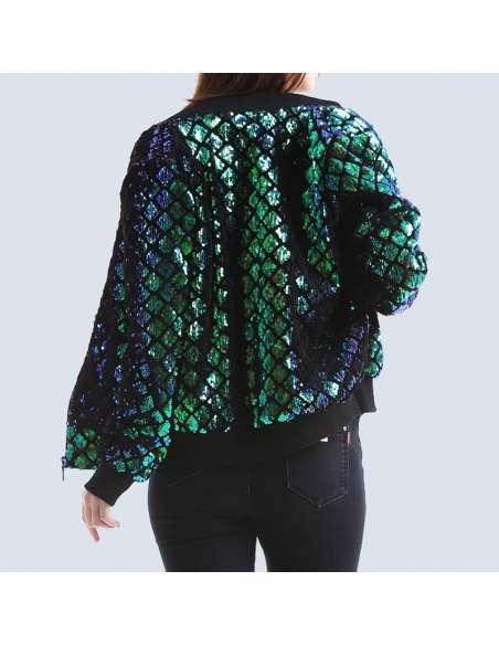 Women's Green Sequin Mermaid Bomber Jacket with Pockets (Back Mid View)