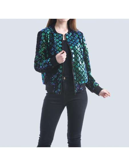 Women's Green Sequin Mermaid Bomber Jacket with Pockets (Front View)