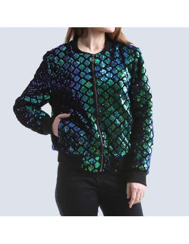 Women's Green Sequin Mermaid Bomber Jacket with Pockets (Front Mid View)