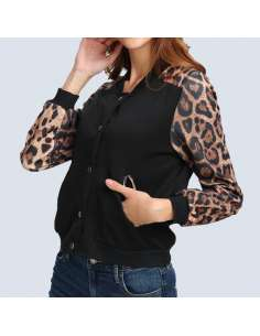 Women's Leopard Print Bomber Jacket with Pockets (Side View)