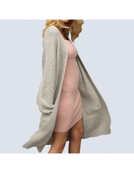 Women's Light Gray Oversized Chunky Knit Cardigan with Pockets (Front View)