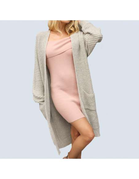 Women's Light Gray Oversized Chunky Knit Cardigan with Pockets