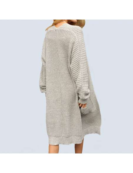 Women's Light Gray Oversized Chunky Knit Cardigan with Pockets (Back View)