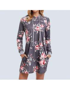 Gray Floral Hoodie Dress with Pockets (Front View)