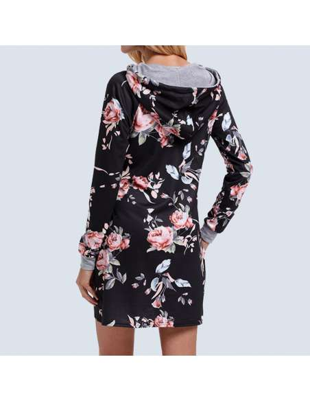 Black Floral Hoodie Dress with Pockets (Back View)