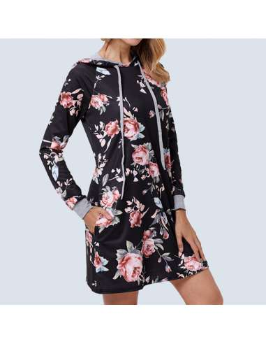 Black Floral Hoodie Dress with Pockets (Side View)