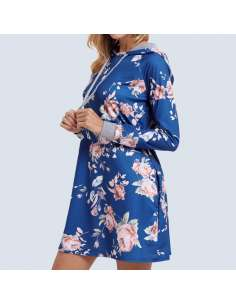 Blue Floral Hoodie Dress with Pockets (Side View)