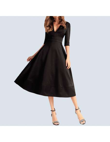 Black V-Neck Fit and Flare Pocket Dress (Front View)